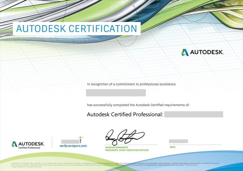 Autodesk Certified Professional - Tấm Hộ Chiếu Xanh